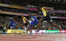 Gatlin defeats Bolt to win second World Championships title in London