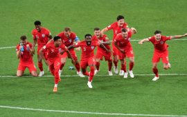 England survive late scare in historic Colombia win